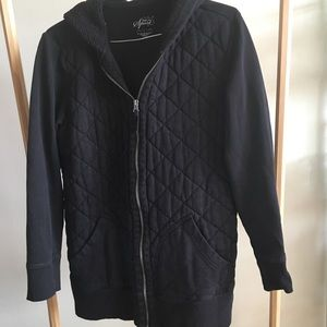 Style & Co Black Quilt Hoodie 3/4 Sleeve L